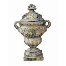 French Pottery Stein Firepot mit Girlande Dekoration 105 cm