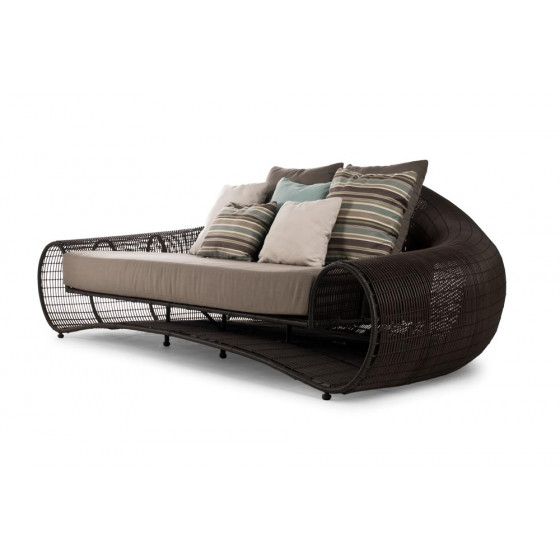 Croissant  Sofa  (brown/whitewash) inkl. Kissenset