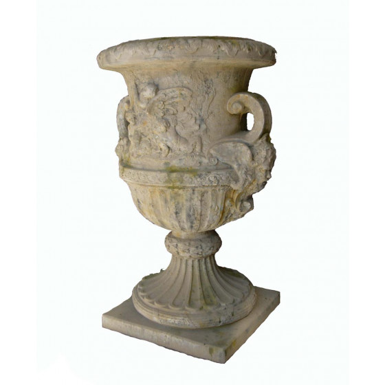 French Pottery Steintopf mit Engelfiguren Dekoration 140 cm