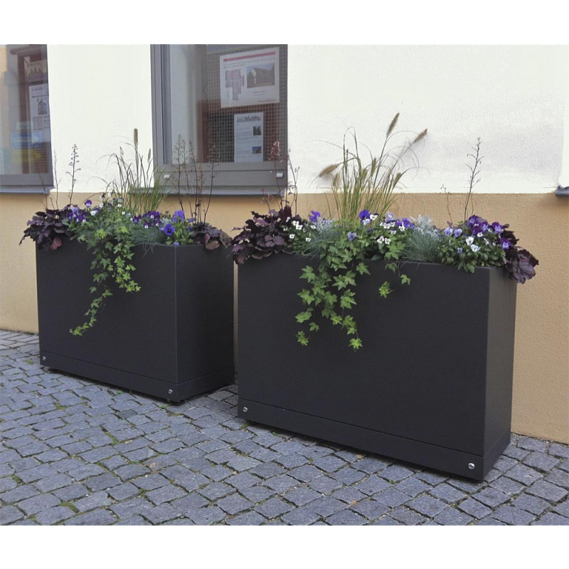 gartensilber aluminium quader hoch pflanzk bel villa. Black Bedroom Furniture Sets. Home Design Ideas
