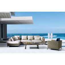 B&B Italia Ray Outdoor • Loungesofa Endmodul links 235/6 × 101/2 cm • Natural/Fabric