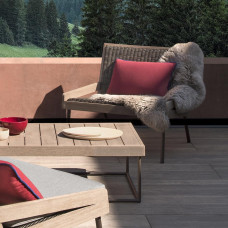 Ethimo Allaperto Mountain Loungetisch • Metall Coffee Brown + Teak / Teakholz gebeizt