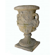 French Pottery Steinvase mit Engelfiguren Dekoration 140 cm